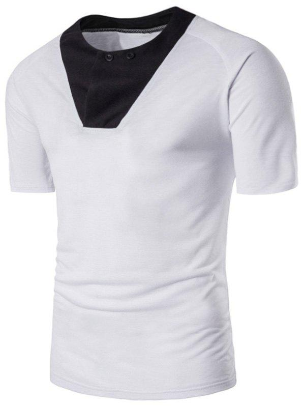 Chic Raglan Sleeve Color Block Panel Button T-shirt