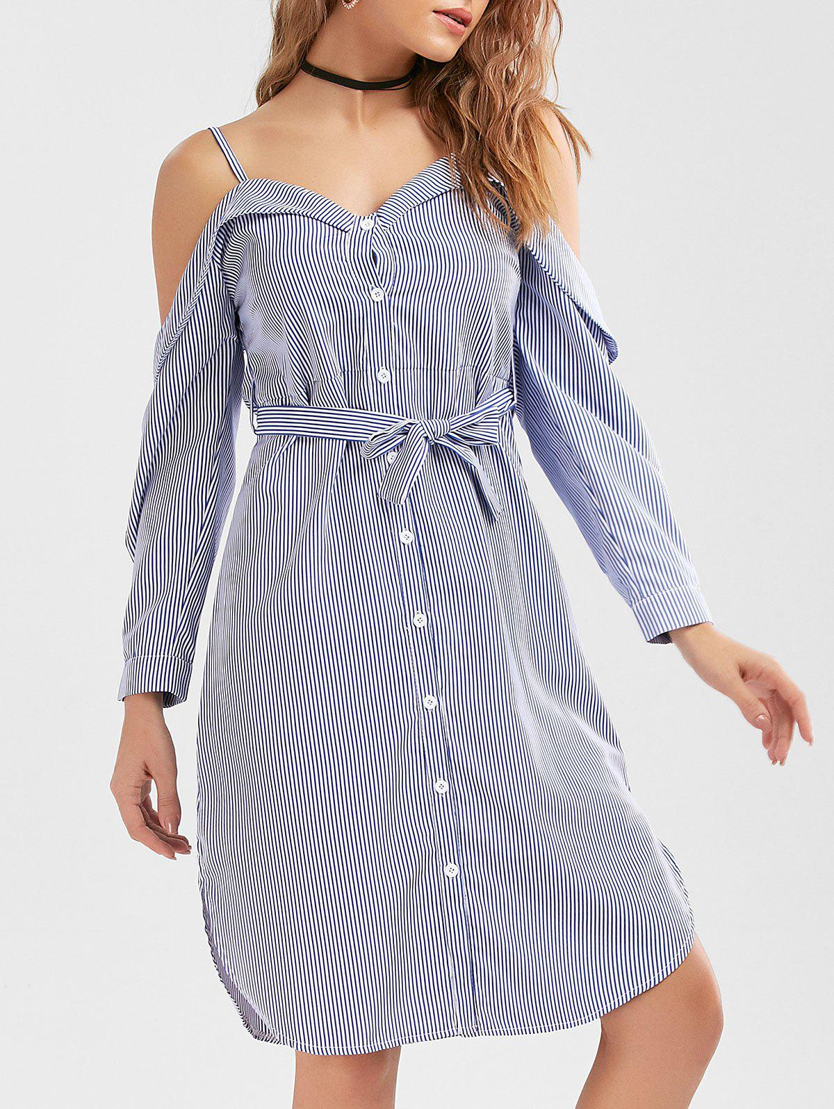 394e9307762a69 2019 Button Up Belted Striped Cold Shoulder Shirt Dress