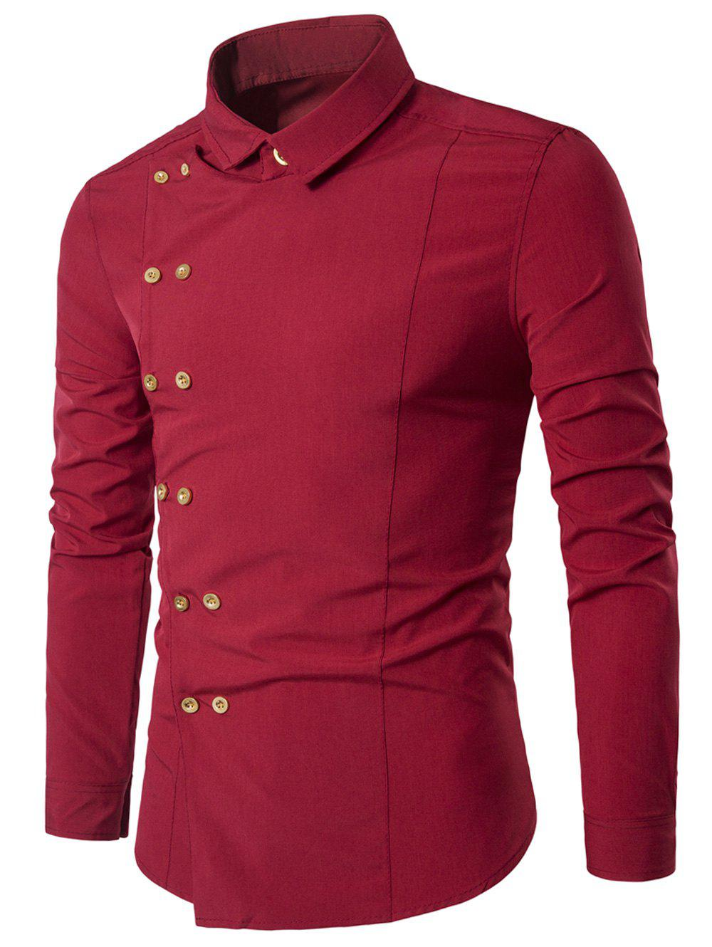Double Breasted Turndown Collar Long Sleeve ShirtMEN<br><br>Size: XL; Color: RED; Shirts Type: Casual Shirts; Material: Cotton,Polyester; Sleeve Length: Full; Collar: Turndown Collar; Pattern Type: Solid; Weight: 0.1900kg; Package Contents: 1 x Shirt;