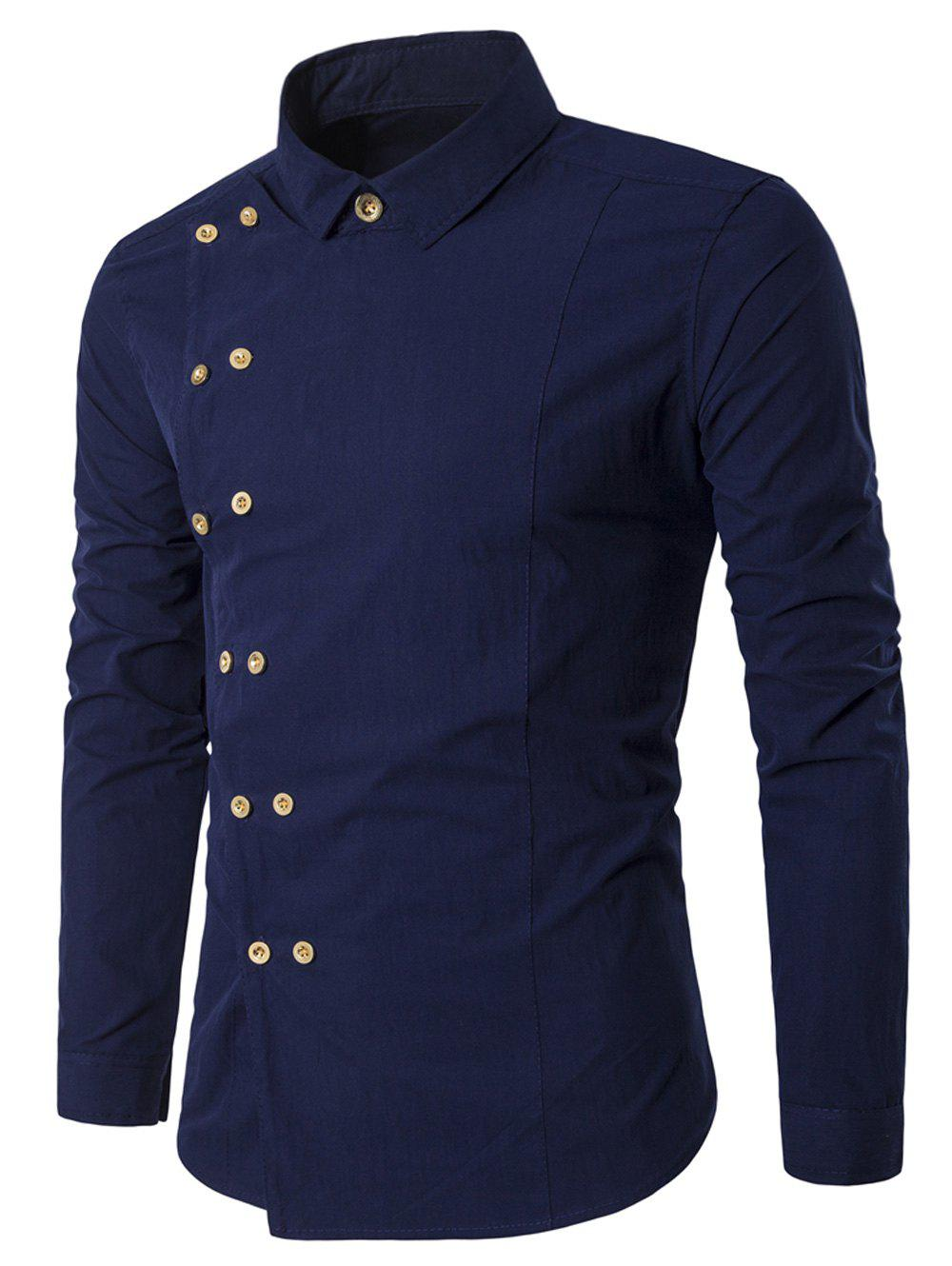 Double Breasted Turndown Collar Long Sleeve ShirtMEN<br><br>Size: 2XL; Color: CADETBLUE; Shirts Type: Casual Shirts; Material: Cotton,Polyester; Sleeve Length: Full; Collar: Turndown Collar; Pattern Type: Solid; Weight: 0.1900kg; Package Contents: 1 x Shirt;