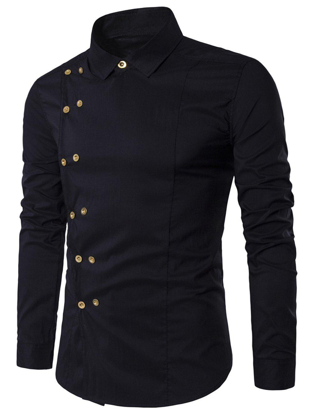 Double Breasted Turndown Collar Long Sleeve ShirtMEN<br><br>Size: L; Color: BLACK; Shirts Type: Casual Shirts; Material: Cotton,Polyester; Sleeve Length: Full; Collar: Turndown Collar; Pattern Type: Solid; Weight: 0.1900kg; Package Contents: 1 x Shirt;