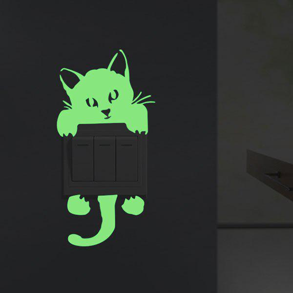 Home Decor Noctilucence Cat Wall StickerHOME<br><br>Size: 10*20CM; Color: NEON GREEN; Wall Sticker Type: Plane Wall Stickers; Functions: Light Switch Stickers; Theme: Animals; Material: PVC; Feature: Removable; Weight: 0.0600kg; Package Contents: 1 x Wall Sticker;