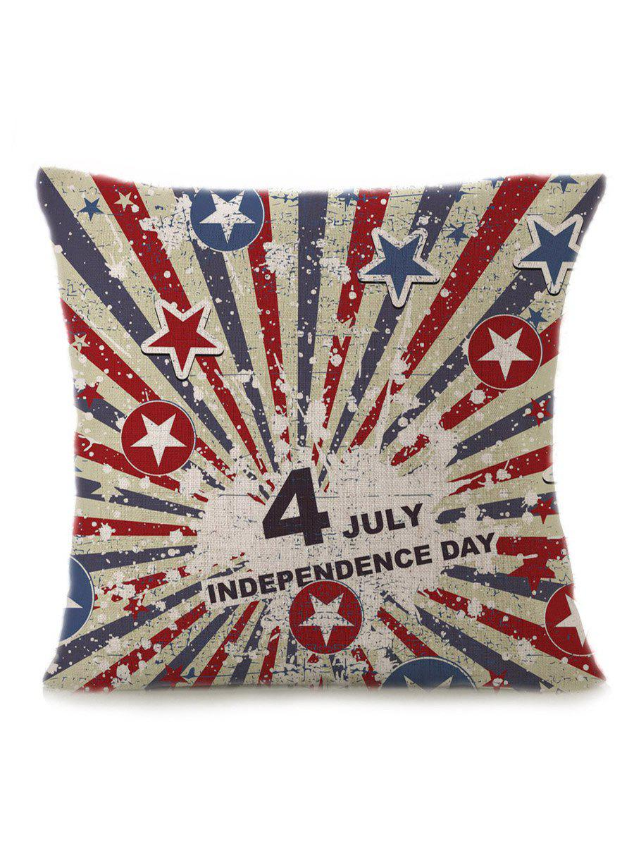 Patriotic Star Letter Print Linen Pillow CaseHOME<br><br>Size: 45*45CM; Color: MULTI; Material: Polyester / Cotton; Fabric Type: Linen; Pattern: Star; Style: Modern/Contemporary; Shape: Square; Weight: 0.1000kg; Package Contents: 1 x Pillow Case;