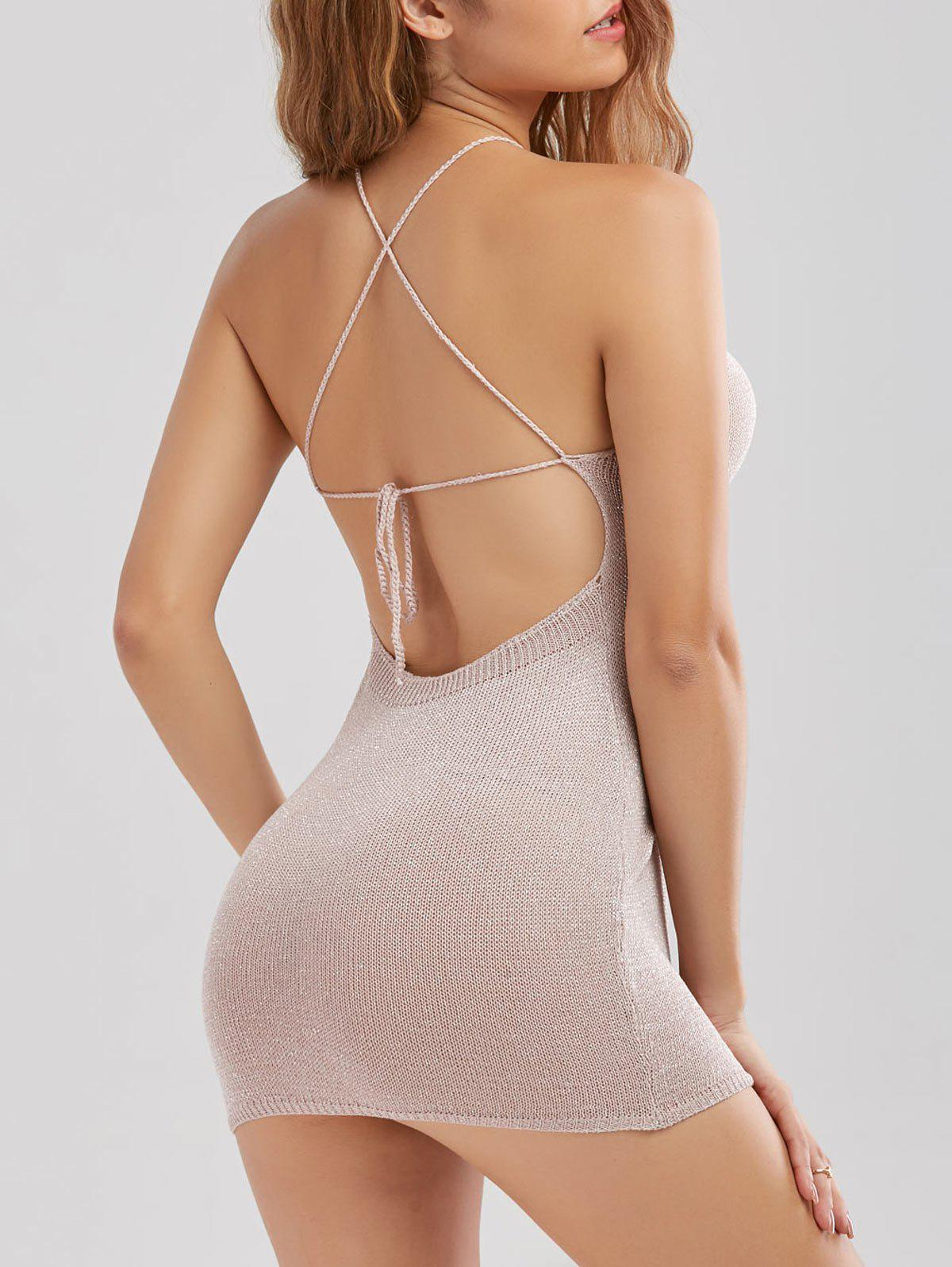 Sale Knitted Criss Cross Backless Sheer Mini Tight Club Dress