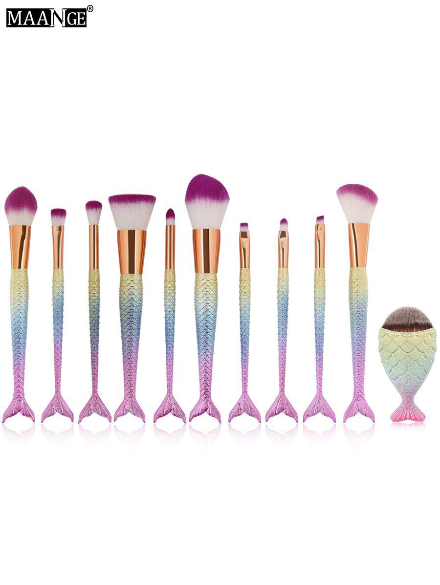 MAANGE 11Pcs Mermaid Tail Makeup Brushes with Chunky Foundation BrushBEAUTY<br><br>Color: SHALLOW PINK; Category: Makeup Brushes Set; Brush Hair Material: Synthetic Hair; Features: Professional; Season: Fall,Spring,Summer,Winter; Weight: 0.2160kg; Package Contents: 10 x Brushes(Pcs)  1 x Chunky Brush;
