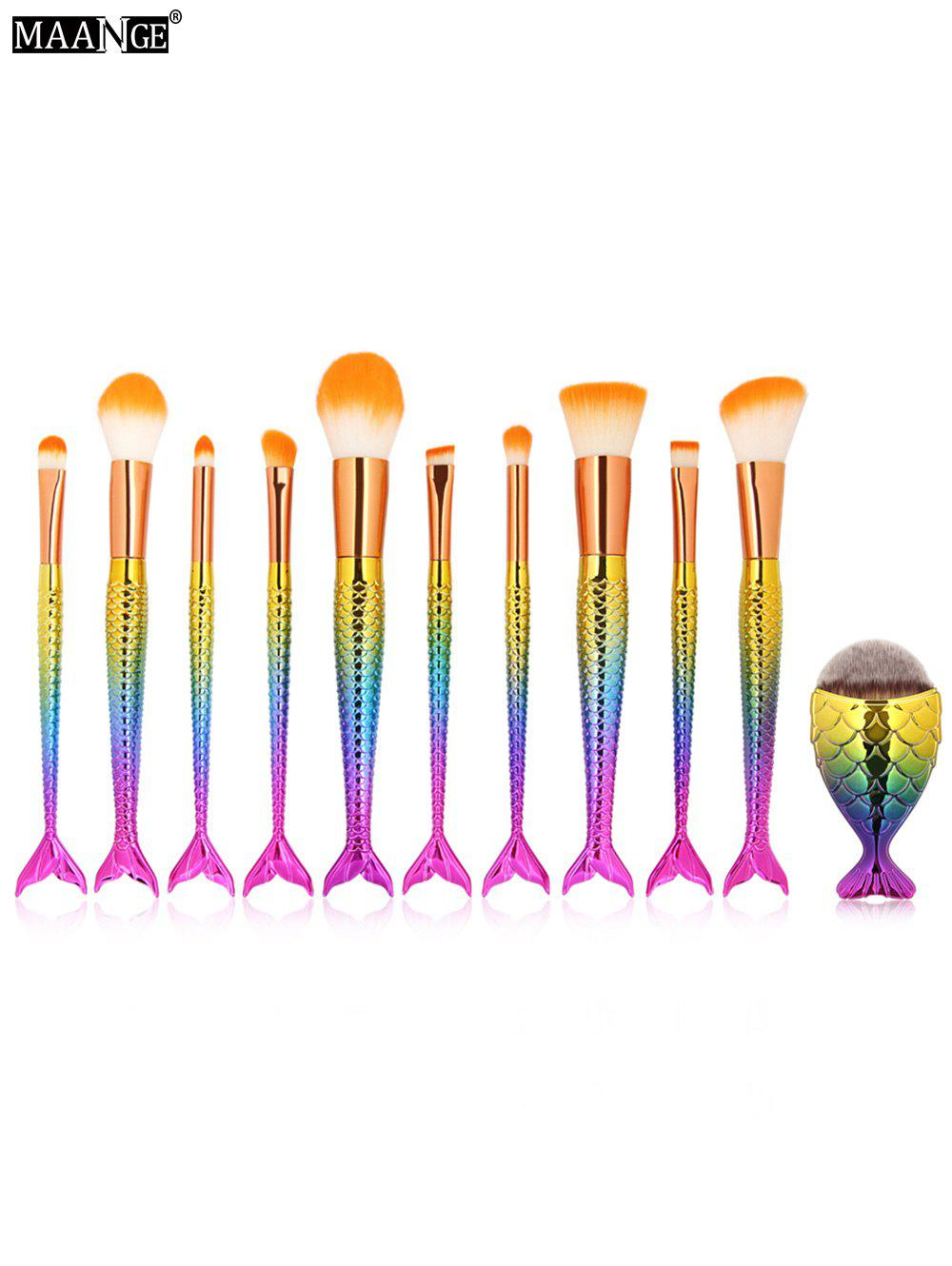Discount MAANGE 11Pcs Mermaid Tail Makeup Brushes with Chunky Foundation Brush