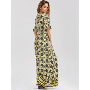 Low Cut Printed Floor Length Dress - YELLOW XL