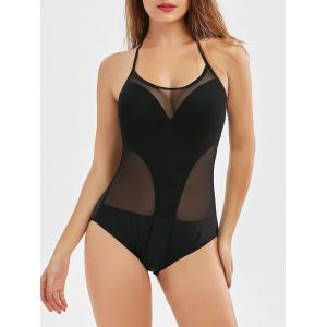 Mesh Panel Underwire Sheer Backless Swimsuit