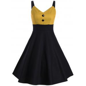 Buttons Two Tone Vintage Slip Dress