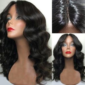 Center Part Long Body Wave Synthetic Wig - Natural Black - 28inch