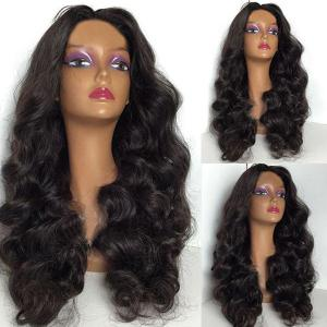 Shaggy Long Body Wave Middle Parting Synthetic Wig - Natural Black - 28inch