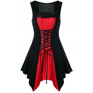 Plus Size Lace Panel Lace Up Sleeveless Dress - Red With Black - 5xl