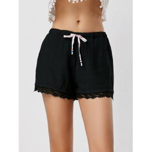 Drawstring Lace Panel Shorts with Pockets