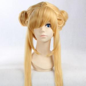 Anime Straight Side Bang Long Bunches Costume Sailor Moon Cosplay Wig - YELLOW 30INCH