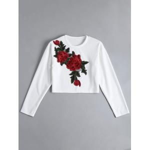 Ribbed Cropped Floral Embroidered Top - White - L