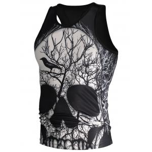 3D Deadwood and Skull Print Tank Top