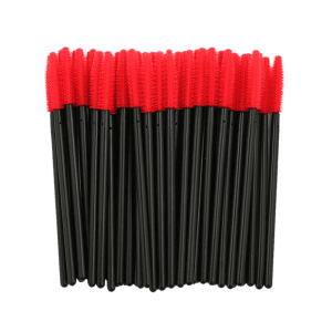 50 Pcs/Pack Disposable Silicone Eye Brow Groomer Brushes - RED