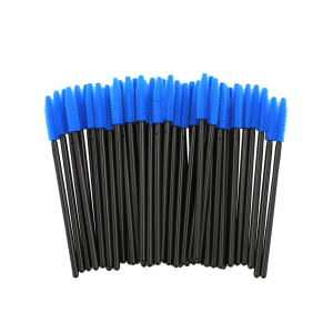 50 Pcs/Pack Disposable Silicone Eye Brow Groomer Brushes - BLUE