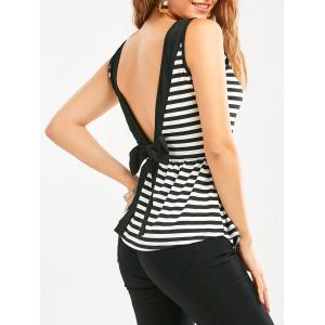 Bowknot Backless Striped Sleeveless Flowy T-Shirt - White And Black - S