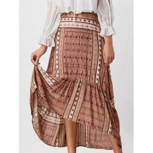 Printed High Waisted High Low Skirt - Colormix - L