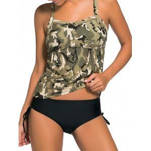 Cross Back Camouflage Tankini Set - Pearl Greyish Green - 2xl