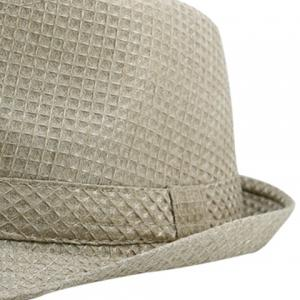 Retro Plaid Ribbon Fedora Hat - KHAKI