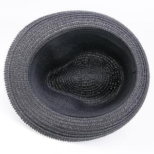 Woven Fedora Hat with Ribbon - BLACK