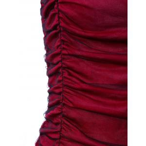 Ruffle Panel Ruched Tulle Gothic Blouse - RED 2XL