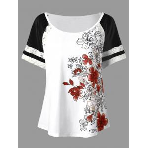 Floral Print Plus Size Scoop Casual T-shirt - Red - 2xl
