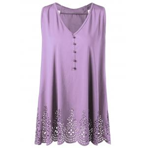 Plus Size Bowknot Openwork Scalloped Tank Top - Suede Rose - 3xl