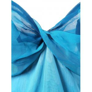 Empire Waist Ombre Handkerchief Dress - BLUE L