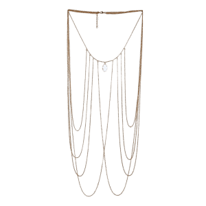 Artificial Crystal Fringed Teardrop Body Chain - GOLDEN