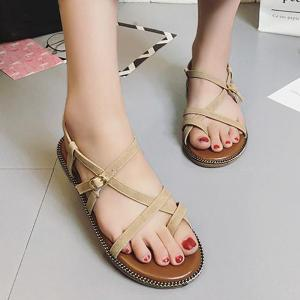 Flat Heel Toe Ring Buckle Strap Sandals