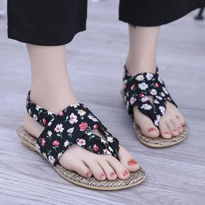 Floral Print Flat Thong Sandals
