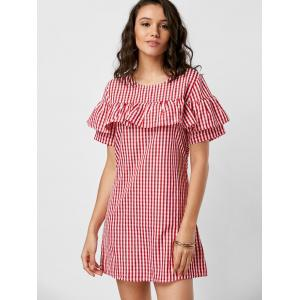 Mini Ruffle A Line Plaid Dress - RED XL