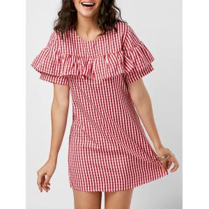 Short Sleeve Ruffle Plaid Dress