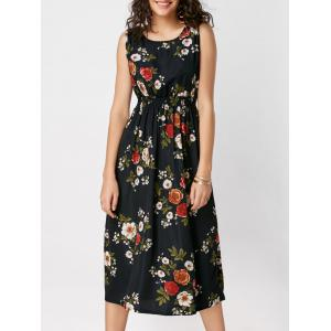 High Waisted Ornate Floral Print Midi Dress - Black - Xl