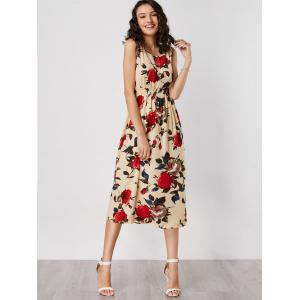High Waist Rose Print Sleeveless Dress -