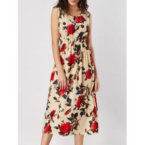 High Waist Rose Print Sleeveless Dress