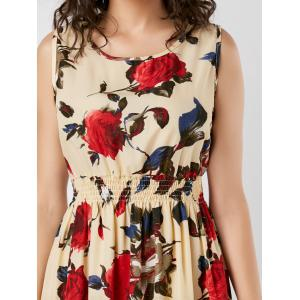 High Waist Rose Print Sleeveless Dress - YELLOW S