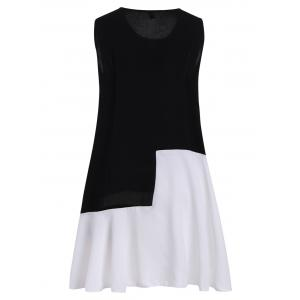 Plus Size Colorblock Mini Sleeveless Drop Waist Dress -