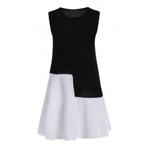 Plus Size Colorblock Mini Sleeveless Drop Waist Dress