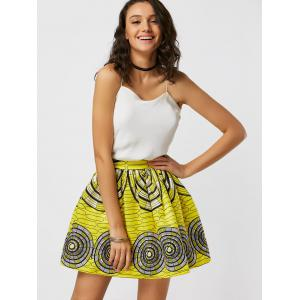 Printed High Waisted Ball Skirt - YELLOW S