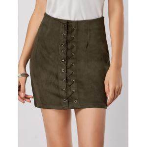 High Waisted Grommet Lace Up Bodycon Skirt - Green - S