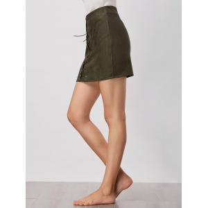 High Waisted Grommet Lace Up Bodycon Skirt - GREEN S