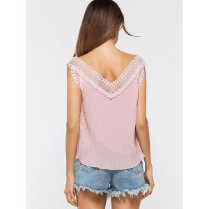 V Neck Lace Panel Pleated Tank Top - PINK ONE SIZE