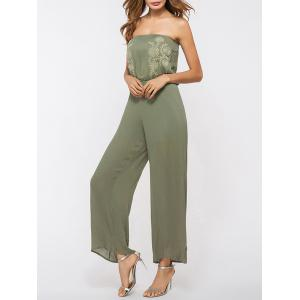 Off The Shoulder Wide Leg Jumpsuit - Army Green - One Size