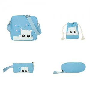 5 Pcs Canvas Cat Print Backpack Set - AZURE