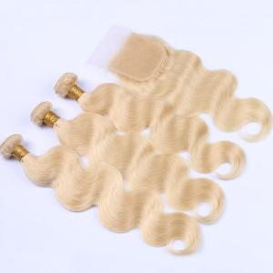 3Pcs/Lot 6A Virgin Perm Dyed Body Wave Human Hair Weaves - BLONDE #613 16INCH*16INCH*16INCH*CLOSURE 14INCH