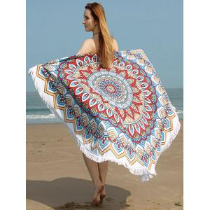 Tribe Flower Print Fringed Trim Beach Towel